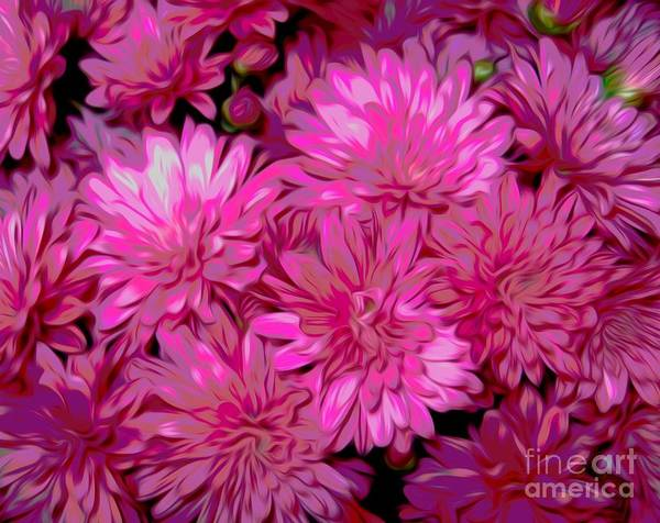Mixed Media - Dark Pink Mums With Chinese Lantern Smudge Effect by Rose Santuci-Sofranko