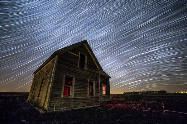 Photograph - Dark Place With Star Trails by Aaron J Groen