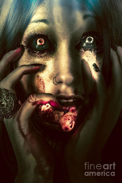 Wall Art - Photograph - Dark Scary Female Face Expressing Bloody Fear by Jorgo Photography - Wall Art Gallery