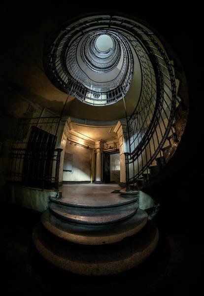 Photograph - Dark Spiral Staircase by Jaroslaw Blaminsky