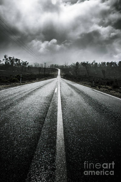Gravel Road Photograph - Dark Stormy Road To Cradle Mountain In Tasmania by Jorgo Photography - Wall Art Gallery