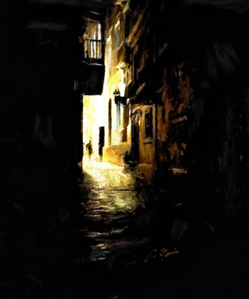 Digital Art - Dark Street by Charlie Roman