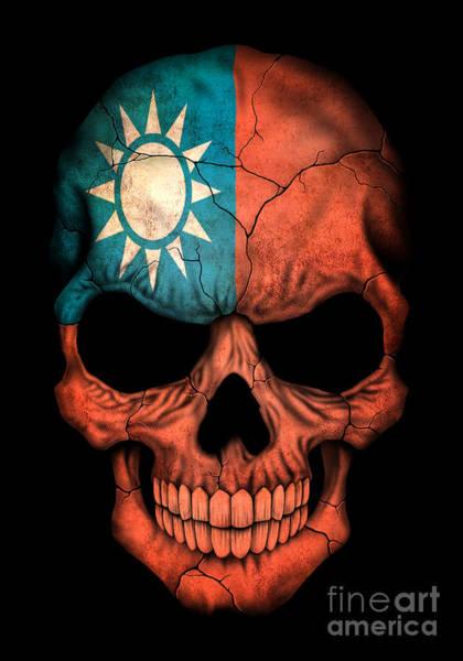 Taiwanese Wall Art - Digital Art - Dark Taiwanese Flag Skull by Jeff Bartels