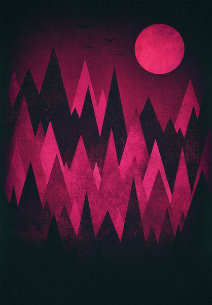 Wall Art - Digital Art - Dark Triangles - Peak Woods Abstract Grunge Mountains Design In Red Black by Philipp Rietz