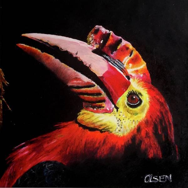 Hornbill Drawing - Dark Tropics by Price T Olsen