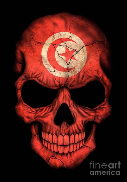 Tunisia Digital Art - Dark Tunisian Flag Skull by Jeff Bartels
