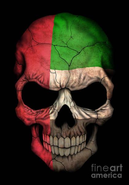 Arab Digital Art - Dark Uae Flag Skull by Jeff Bartels