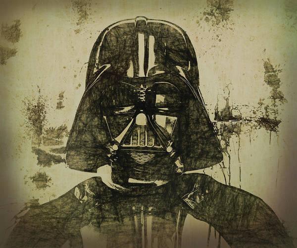 Wall Art - Mixed Media - Darth Vader Grunge by Dan Sproul