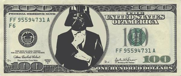 R2-d2 Digital Art - Darth Vader Money by Dan Sproul