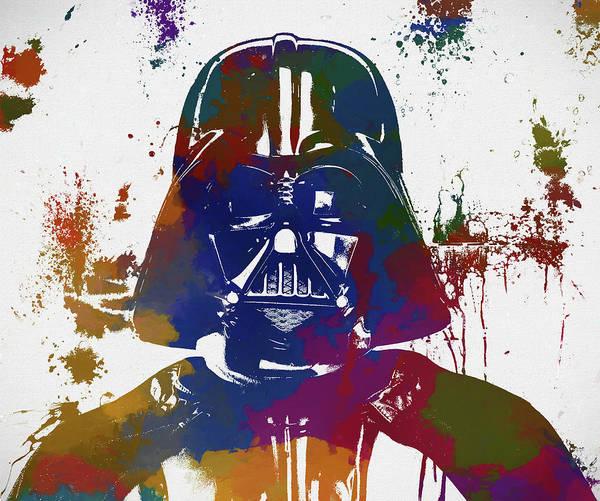 Star Wars Wall Art - Painting - Darth Vader Paint Splatter by Dan Sproul
