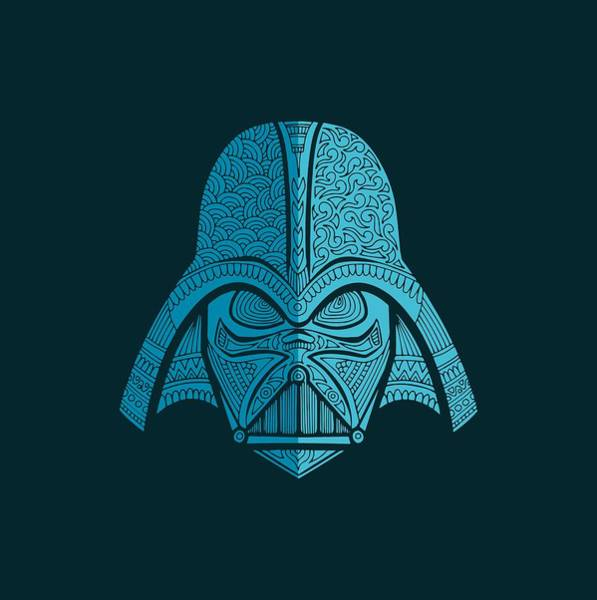 Darth Vader Mixed Media - Darth Vader - Star Wars Art - Blue Navy by Studio Grafiikka