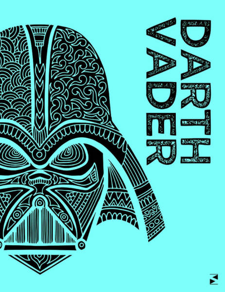 Darth Vader Mixed Media - Darth Vader - Star Wars Art - Blue by Studio Grafiikka