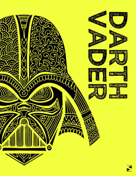 Darth Vader Mixed Media - Darth Vader - Star Wars Art - Yellow by Studio Grafiikka