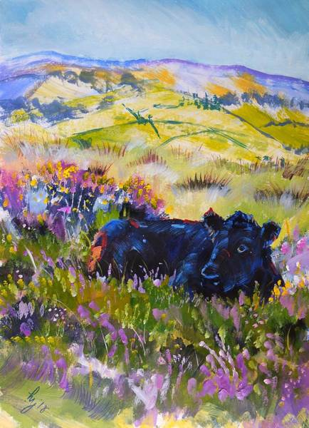 Painting - Dartmoor Cow Landscape Painting by Mike Jory