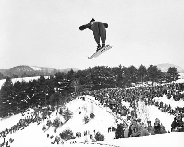 Wall Art - Photograph - Dartmouth Carnival Ski Jumper by Underwood Archives