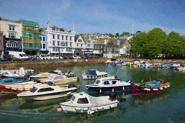 Dingy Digital Art - Dartmouth Devon With Boats Illustration Like Oil Painting by Michael Charles