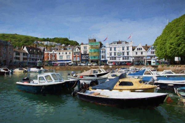 Dingy Digital Art - Dartmouth Harbour Devon Uk With Boats Illustration Like Oil Painting by Michael Charles