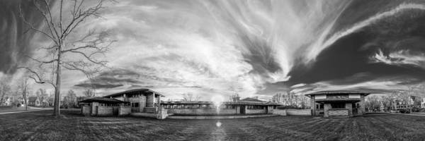 Photograph - Darwin Martin House - Spring Sunset - Bw by Chris Bordeleau