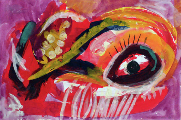 Painting - Das Auge Des Roten Engels/ The Eye Of The Red Angel by Annette Kunow