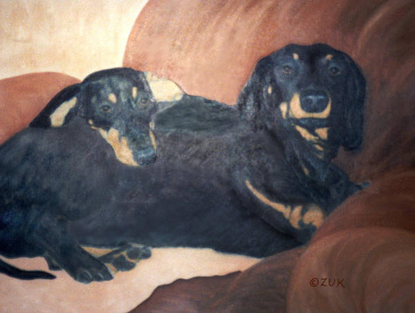 Painting - Daschounds by Karen Zuk Rosenblatt