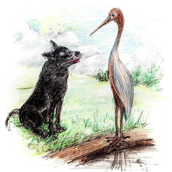 Great Blue Heron Drawing - Dash And The Heron by Dorothy Hilde