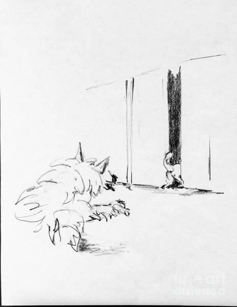 Hund Drawing - Dash Chases Charles by Anthony Vandyk