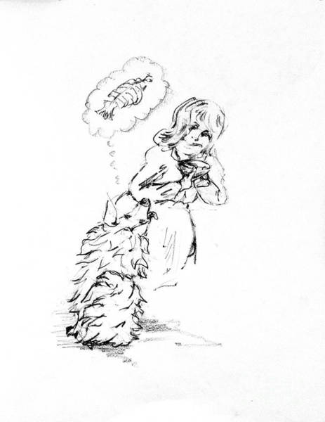 Hund Drawing - Dash Loves Salmon by Dorothy Hilde