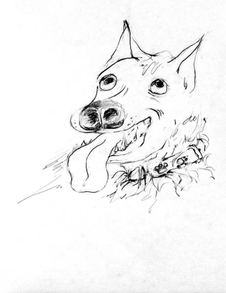 Hund Drawing - Dash Proud Of Her Collar by Anthony Vandyk