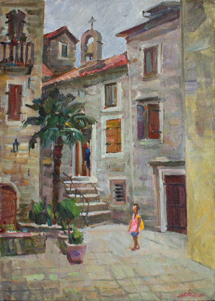 Wall Art - Painting - Dasha In The Old Town by Juliya Zhukova