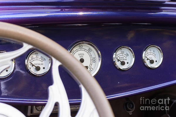 Photograph - Dashboard In A Vintage Car by Les Palenik