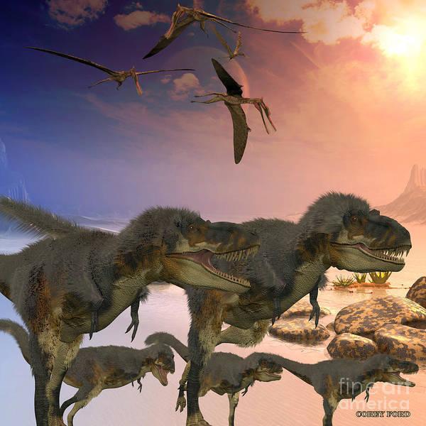 Primeval Painting - Daspletosaurus Dinosaurs by Corey Ford
