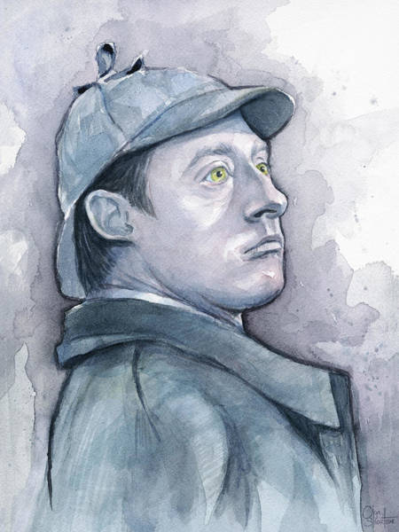 Wall Art - Painting - Data As Sherlock Holmes by Olga Shvartsur