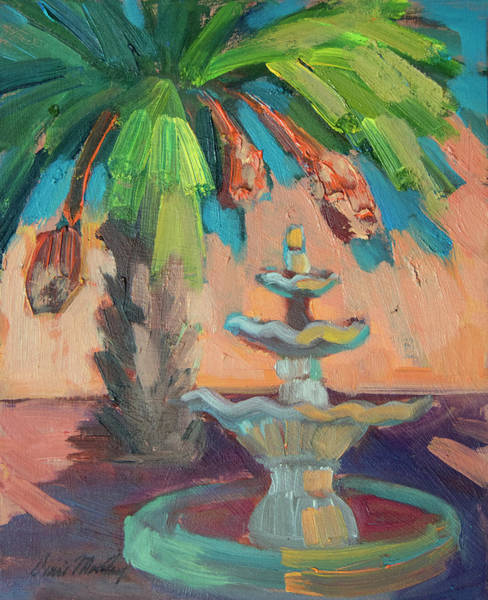 Wall Art - Painting - date Palm and Fountain by Diane McClary