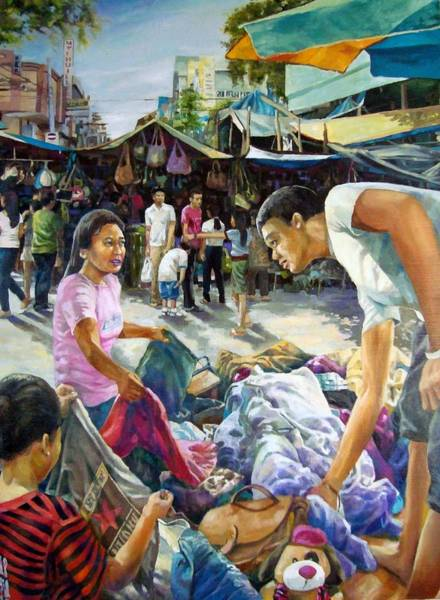 Filipino Drawing - Davao Flea Market by Bong Perez