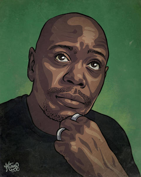 Movie Drawing - Dave Chappelle by Miggs The Artist
