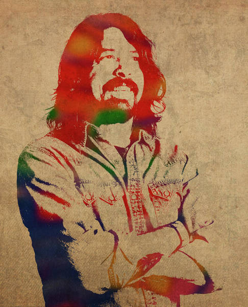 Dave Grohl Wall Art - Mixed Media - Dave Grohl Foofighters Watercolor Portrait by Design Turnpike