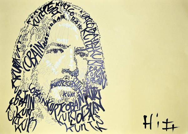 Dave Grohl Painting - Dave Grohl Word Portrait With The Word Kurt Cobain by Jacob  Hitt