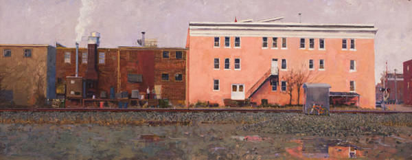Worker Painting - Dave Matthews Pink Warehouse by Edward Thomas
