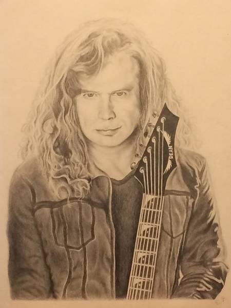Dave Mustaine Wall Art - Drawing - Dave Mustaine by Derek Branham