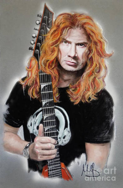 Megadeth Wall Art - Pastel - Dave Mustaine by Melanie D