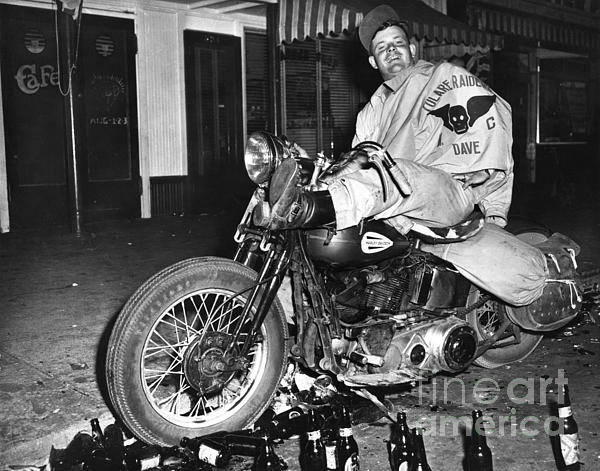 Wall Art - Photograph - Dave On A Harley Tulare Raiders Mc Hollister Calif. July 4 1947 by California Views Archives Mr Pat Hathaway Archives