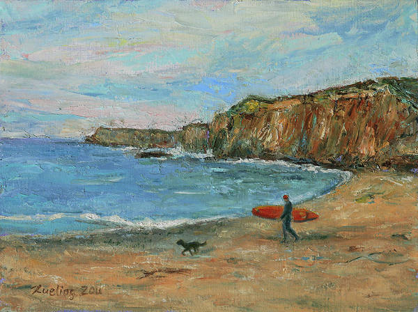 Painting - Davenport Beach Davenport California Landscape 10 by Xueling Zou