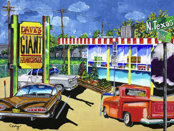 Wall Art - Painting - Dave's Giant Hamburger by Donna Covey