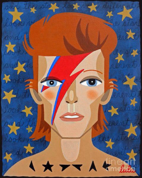 David Bowie Painting - David Bowie Aladdin Sane by LuLu Mypinkturtle