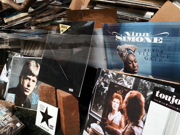 Nina Simone Wall Art - Photograph - David Bowie And Nina Simone - Greenwich Village Record Store by Madeline Ellis