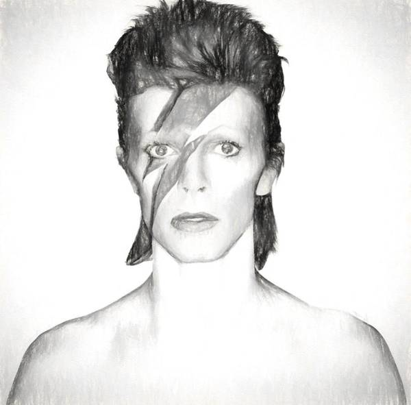 Wall Art - Mixed Media - David Bowie Charcoal  by Dan Sproul