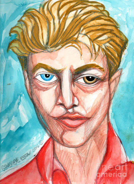 David Bowie Painting - David Bowie In Red Shirt by Genevieve Esson
