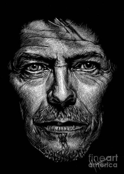 Scratchboard Wall Art - Drawing - David Bowie by Maria Arango