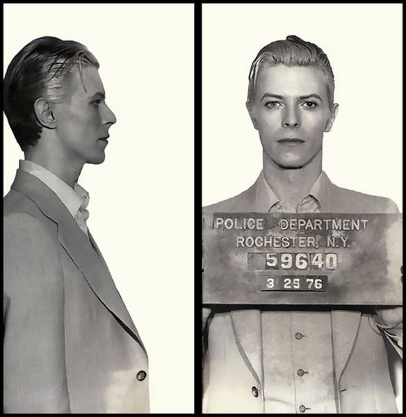 Rochester Photograph - David Bowie Mugshot 1976 by Daniel Hagerman