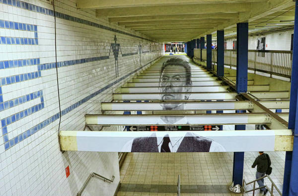 Wall Art - Photograph - David Bowie N Y C Subway Tribute # 4 by Allen Beatty